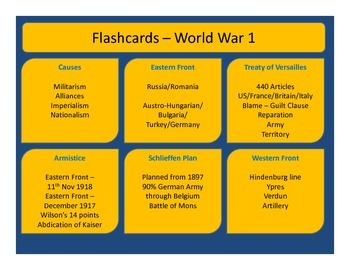 World War 1 - Flash cards