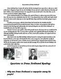 World War 1: Franz Ferdinand Reading and  6 Questions