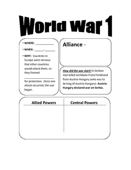 World War 1 Guided Notes