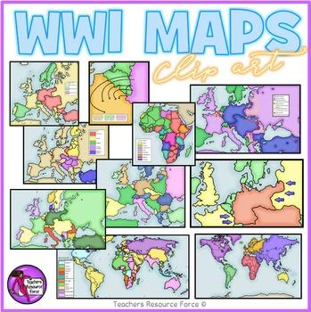 World War 1 maps clipart