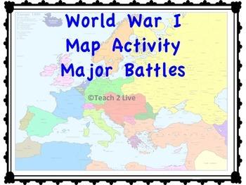 World war 1 map activity major battles tpt world war 1 map activity major battles publicscrutiny Choice Image