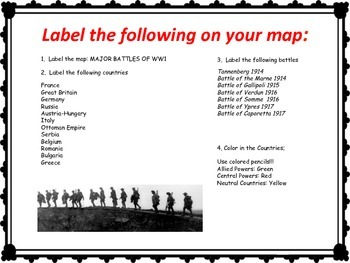 World War 1 - Map Activity - Major Battles