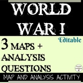 World War 1 Map Analysis Activity Includes 3 Maps