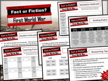 World War 1/One - First World War - Fact or Fiction?  Investigative Activity!