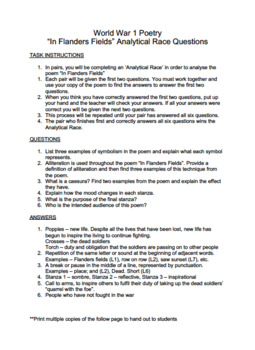 World War 1 Poetry Activities Pack