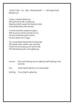 World War 1 Poetry Poem Booklet