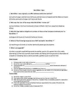 World War 1 Quiz (U.S. History)