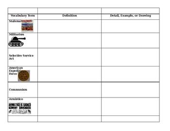 World War 1 Review Sheet- Middle School