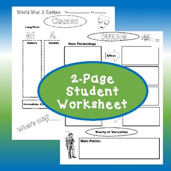World War 1 Review Worksheet and 1,000 Word Summary