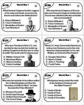 World War 1 Task Cards/ WWI Task Cards