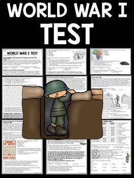 World War I- Test, Matching, True/False, Multiple Choice, Essay