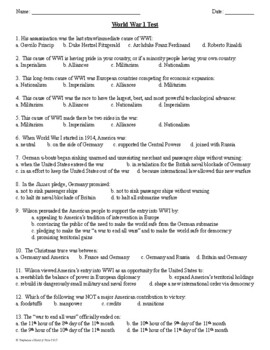 World War 1 Test for US History Two Versions Included