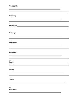 World War 1 Vocab Sheet