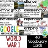 World War 1 Vocabulary Cards, World War I, WW1, WWI Word Wall