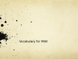 World War 1 Vocabulary Powerpoint