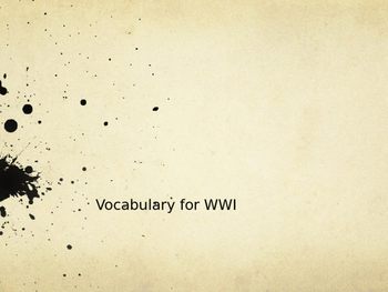 World War 1 Vocabulary Powerpoint
