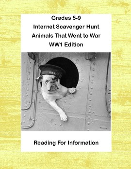 World War 1, WW1, WWI-Animals That Went to War-WebQuest and PowerPoint