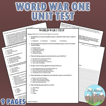 World War 1 (WWI) Unit Test / Exam / Assessment
