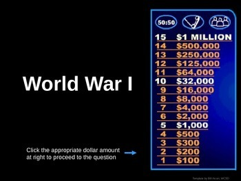 World War 1 -  Who wants to be a millionaire Review