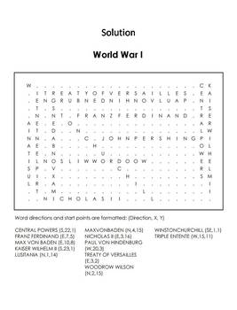 WWI Worksheet: World War 1 Word Search
