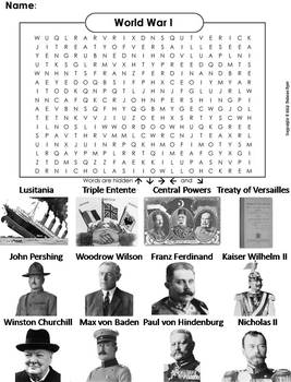 WWI Worksheet: World War 1 Word Search