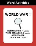 World War 1 - Word Search, Word Scramble,  Secret Code,  C
