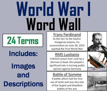 World War 1 Word Wall Cards