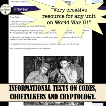 World War II  Related to Codes, Cryptology and Code Breaking 4 activities