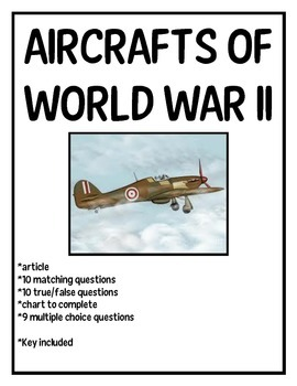World War 2- Aircrafts, article and reading comprehension