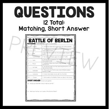 World War 2- Battle of Berlin reading comprehension worksheet- World War II