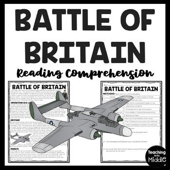 World War 2- Battle of Britain Reading Comprehension Worksheet-  World War II