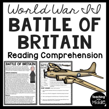 World War 2- Battle of Britain Reading Comprehension Works