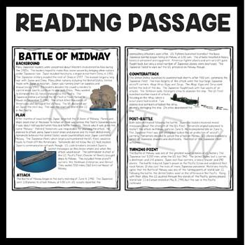 World War II Battle of Midway Reading Comprehension Worksheet World War 2
