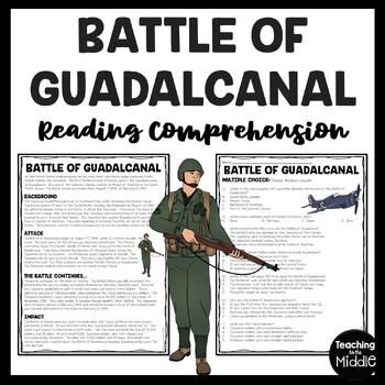 World War 2- Battle of Guadalcanal reading comprehension worksheet