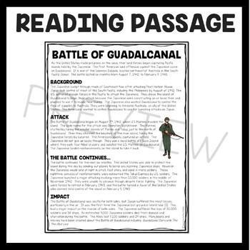 World War 2 Battle of Guadalcanal Reading Comprehension Worksheet World War  II