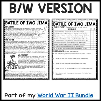 World War 2- Battle of Iwo Jima reading comprehension worksheet, Pacific