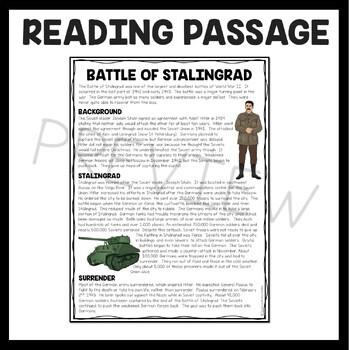 World War 2- Battle of Stalingrad reading comprehension worksheet