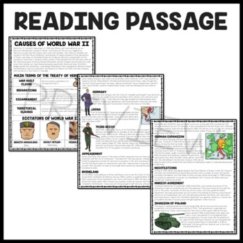 World War II (2)- Causes Reading Comprehension Worksheet, Hitler, Versailles