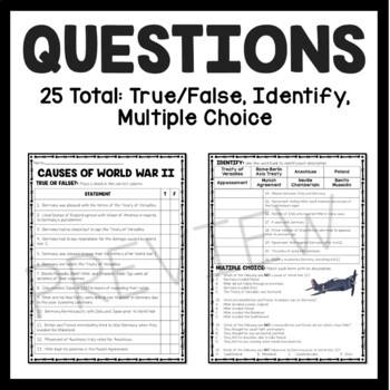 Causes of World War II (2) Reading Comprehension Worksheet