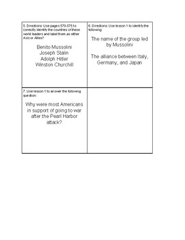 World War 2 Close Read Task Cards TEKS