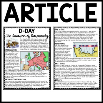 World War 2- D-Day (Invasion of Normandy) reading comprehension worksheet WWII