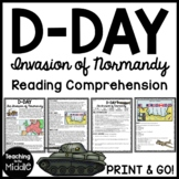 World War 2- D-Day Invasion of Normandy Reading Comprehension worksheet WWII
