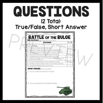 World War 2- Battle of the Bulge Reading Comprehension Worksheet- World War II