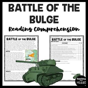 World War 2- Battle of the Bulge Reading Comprehension Worksheet