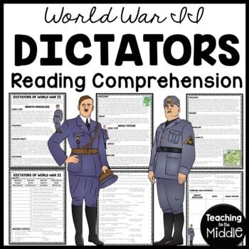 World War 2- Dictators- Hitler & Mussolini Reading Comprehension Worksheet