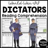 World War II (2) Dictators- Hitler & Mussolini Reading Comprehension Worksheet
