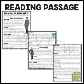 World War II (2) Dictators Hitler & Mussolini Reading Comprehension  Worksheet