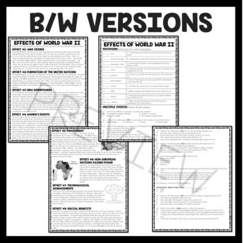World War II (2)- Effects, Reading Comprehension, United Nations, Worksheet