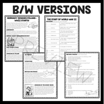 World War 2- Events-Reading Comprehension Worksheet (Poland - Pearl Harbor)