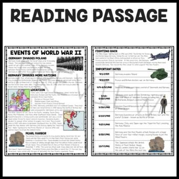 World War 2 II Events Reading Comprehension Worksheet ...